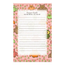 Cute Brown Green Orange Owls on Pink Stationery
