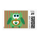 Cute Brown Green Owl Postage STamps