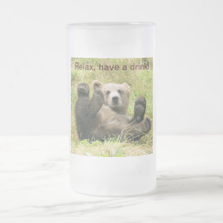 Cute brown grizzly bear cub beautiful photo custom frosted glass beer mug