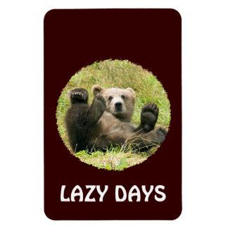 Cute brown grizzly bear cub custom lazy days, gift magnet