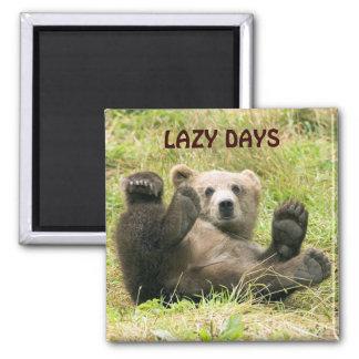 Cute brown grizzly bear cub photo custom lazy days magnet