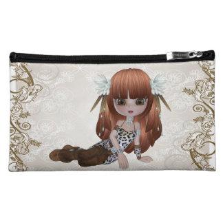 Cute Brown Hair Girl Cosmetic Bag