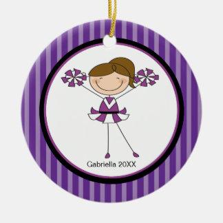 Cute Brown Haired Cheerleader Christmas Ornament