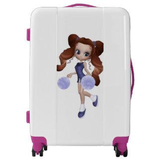 Cute Brown Haired Cheerleader Girl Medium Luggage