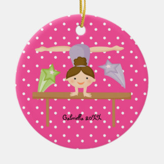 Cute Brown Haired Gymnast  Christmas Ornament
