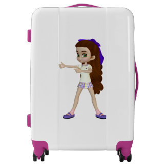 Cute Brown Haired Student Girl Medium Luggage