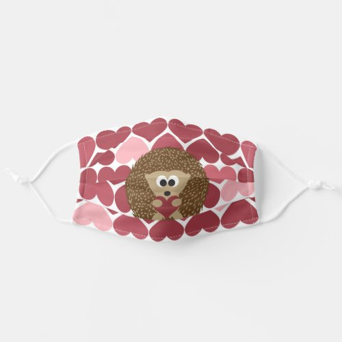 Cute Brown Hedgehog Hugging a Heart Cloth Face Mask