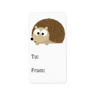Cute Brown Hedgehog Label