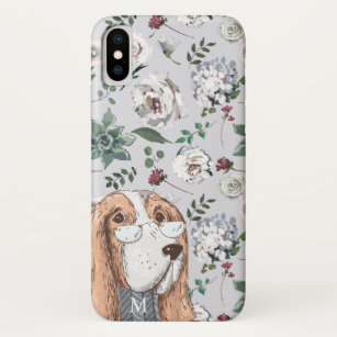 336f9849c9 Cute Brown Hipster Dog with Flowers and Monogram iPhone X Case