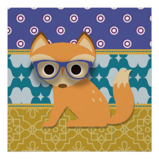 Cute Brown Hipster Fox on Blue Teal and Gold Poster