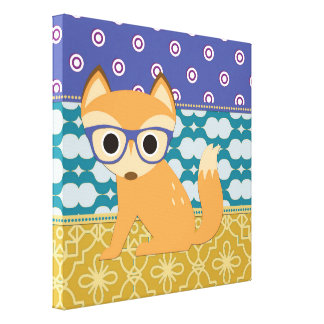 Cute Brown Hipster Fox with Glasses Blue Teal Gold Canvas Print