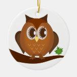 Cute Brown Hoot Owl Ornament