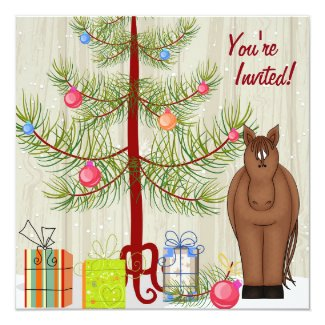 Cute Brown Horse and Christmas Tree Birthday Invitation