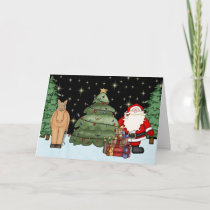 Cute Brown Horse and Santa Merry Christmas Holiday