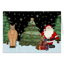 Cute Brown Horse and Santa Merry Christmas Holiday Card