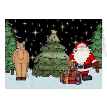 Christmas Themed Cute Brown Horse and Santa Merry Christmas Holiday Card