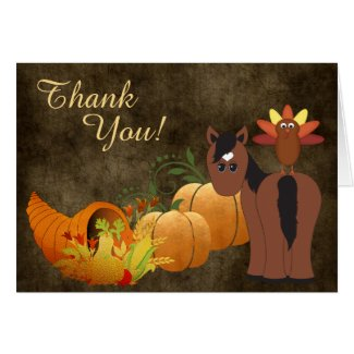 Cute Brown Horse and Turkey Autumn Thank You Card