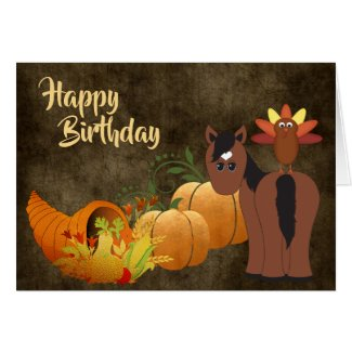 Cute Brown Horse and Turkey Golden Autumn Birthday Card