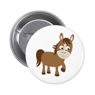 Cute Brown Horse Button