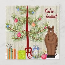 Cute Brown Horse, Christmas Tree Birthday Invite