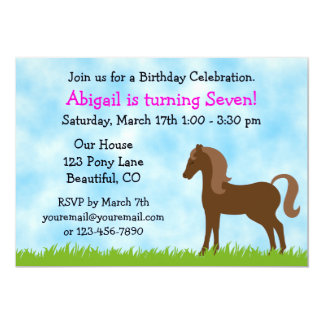 Cute Brown Horse Girls Birthday Party 5x7 Paper Invitation Card