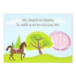 Cute Brown Horse Pony Rides Birthday Invitation