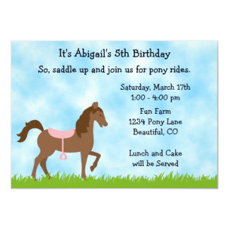 Cute Brown Horse Pony Rides Girls Birthday Party 5x7 Paper Invitation Card