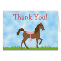 Cute Brown Horse with Pink Saddle Thank You