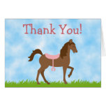 Cute Brown Horse with Pink Saddle Thank You Card