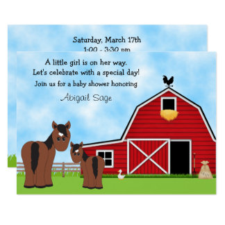 Cute Brown Horses and Red Barn Baby Shower Invite