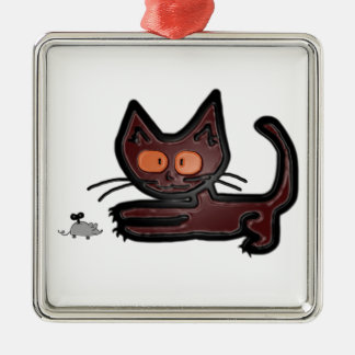 Cute Brown Kitty Cat Plays With Mouse Toy Ornament