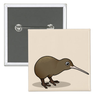 Cute Brown Kiwi from New Zealand Button