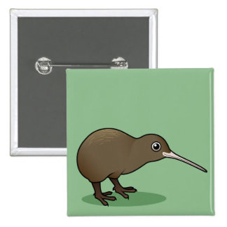 Cute Brown Kiwi from New Zealand Pinback Button