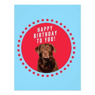 Cute Brown Labrador Retriever Dog Happy Birthday Letterhead