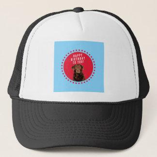 Cute Brown Labrador Retriever Dog Happy Birthday Trucker Hat