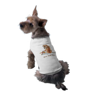 Cute brown mixed breed puppy and teddy bear tee
