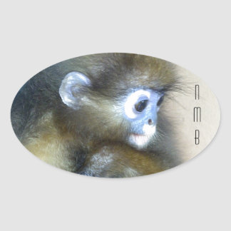 Cute brown monkey initials NMB No Monkey Business Oval Sticker