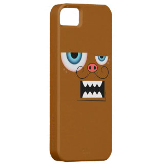Cute Brown Mustache Monster Emoticon iPhone SE/5/5s Case