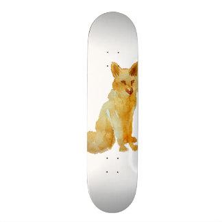 Cute brown orange hand painted watercolor fox skateboard deck
