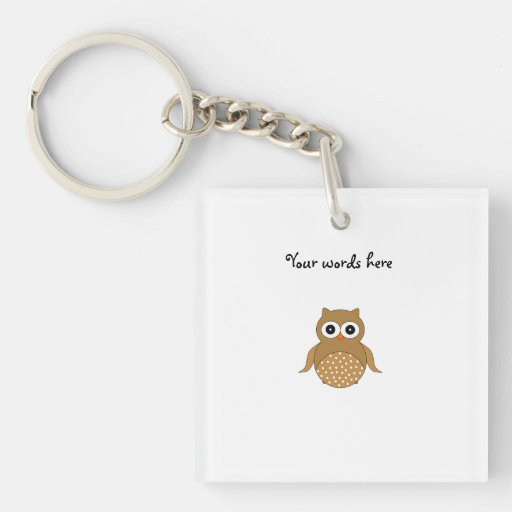 Cute brown owl acrylic keychain