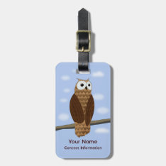 Cute Brown Owl Acrylic Luggage Tag Leather Strap at Zazzle
