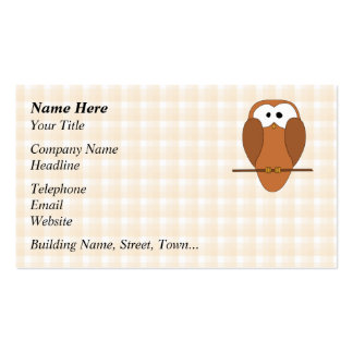 Cute Brown Owl, Beige Check Background. Business Card