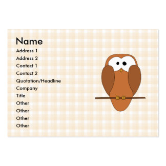 Cute Brown Owl, Beige Check Background. Business Card Template