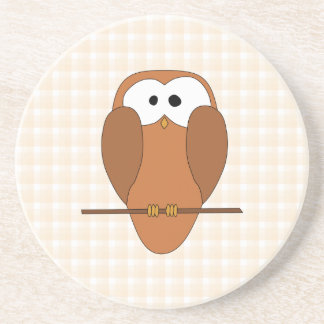 Cute Brown Owl, Beige Check Background. Drink Coaster