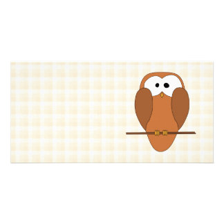 Cute Brown Owl, Beige Check Background. Photo Card
