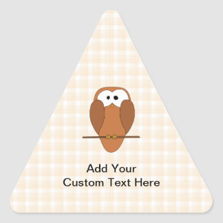 Cute Brown Owl, Beige Check Background. Triangle Sticker