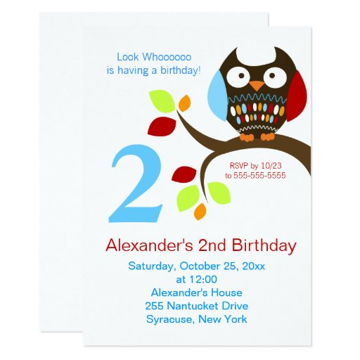 Cute Brown Owl Birthday Invitation
