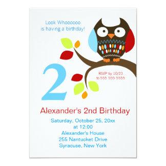 "Cute Brown Owl Birthday Invitation 5"" X 7"" Invitation Card"