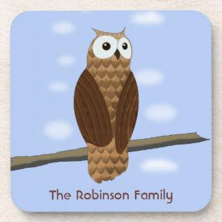 Cute Brown Owl Blue Sky 6 Drinks Coasters