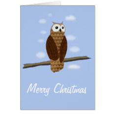 Cute Brown Owl Blue Sky Christmas Card at Zazzle